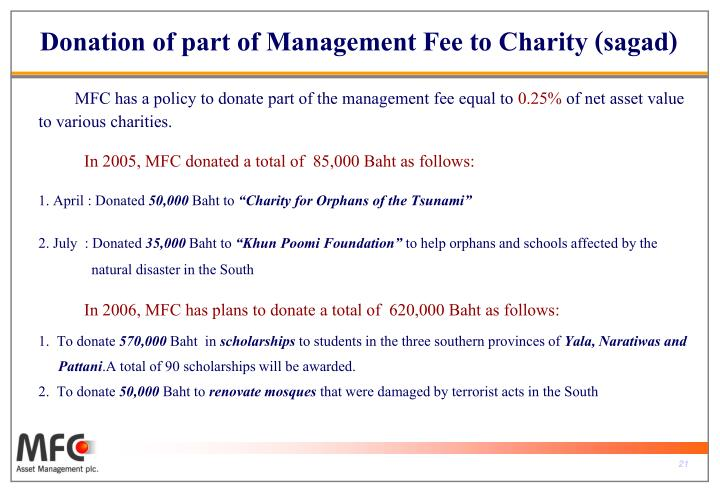 Donation of part of Management Fee to Charity (sagad)