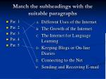 match the subheadings with the suitable paragraphs