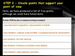 step 2 create points that support your point of view