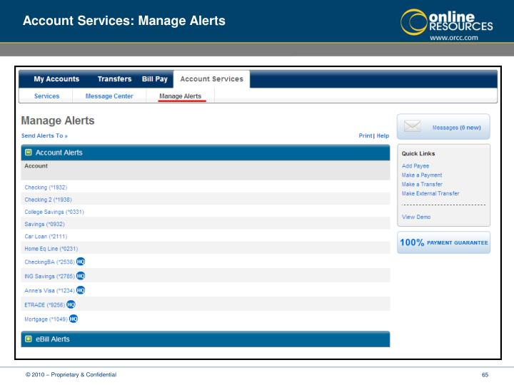 Account Services: Manage Alerts