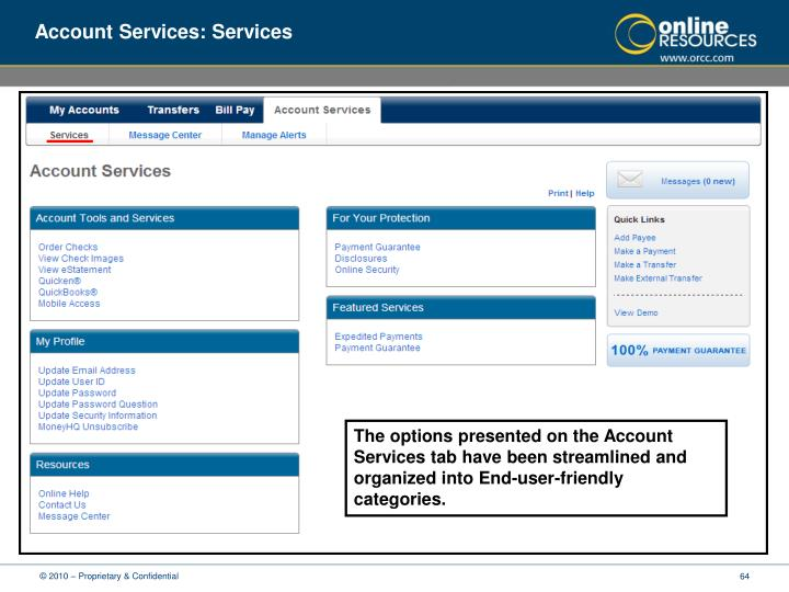Account Services: Services
