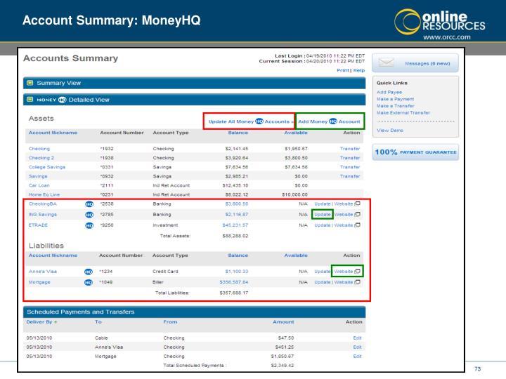 Account Summary: MoneyHQ