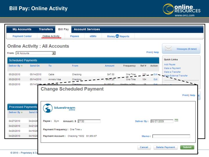 Bill Pay: Online Activity