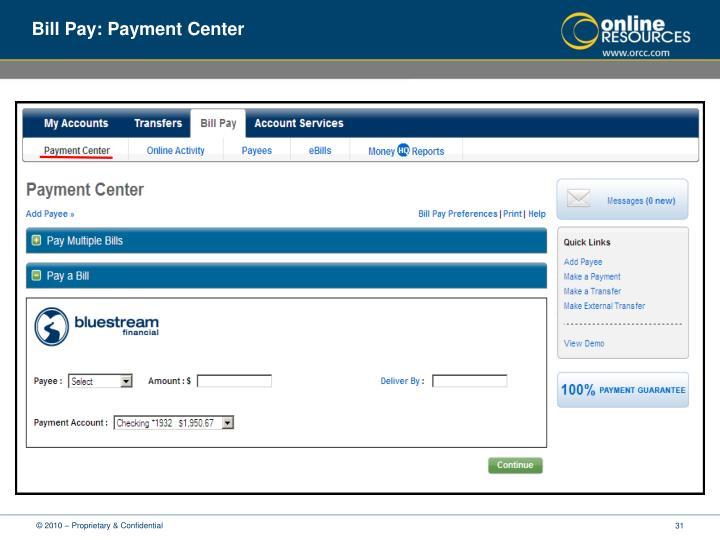 Bill Pay: Payment Center
