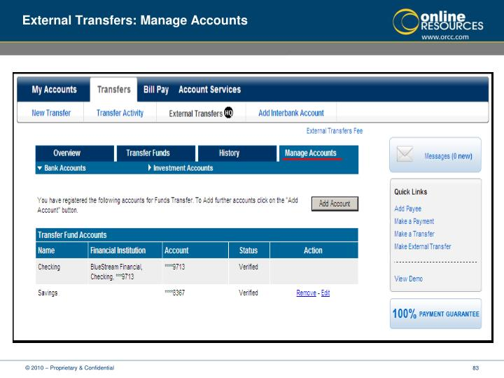 External Transfers: Manage Accounts