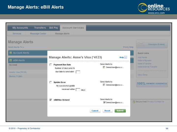 Manage Alerts: eBill Alerts