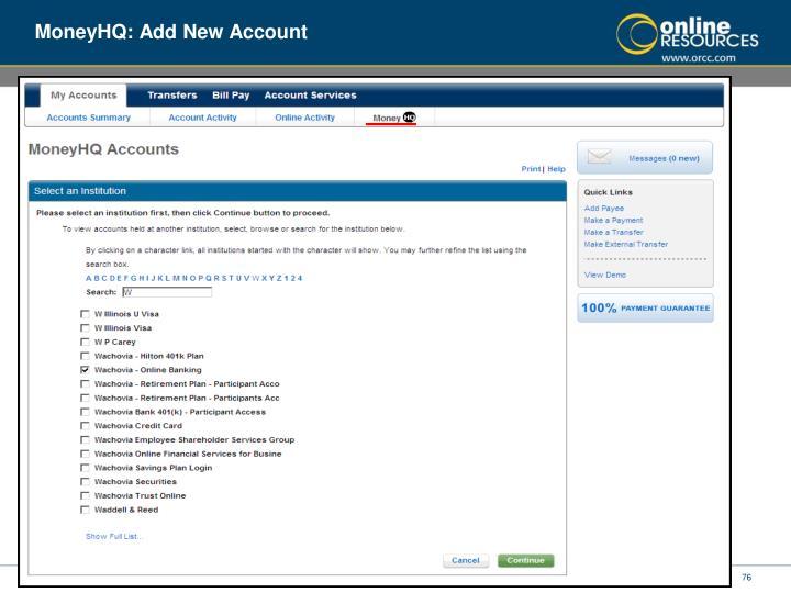 MoneyHQ: Add New Account