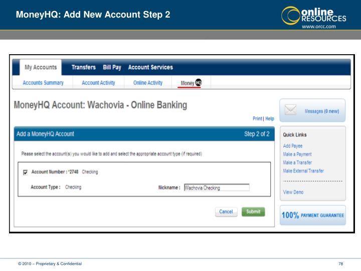 MoneyHQ: Add New Account Step 2