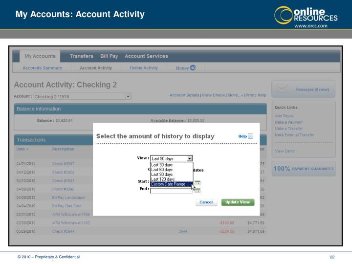 My Accounts: Account Activity