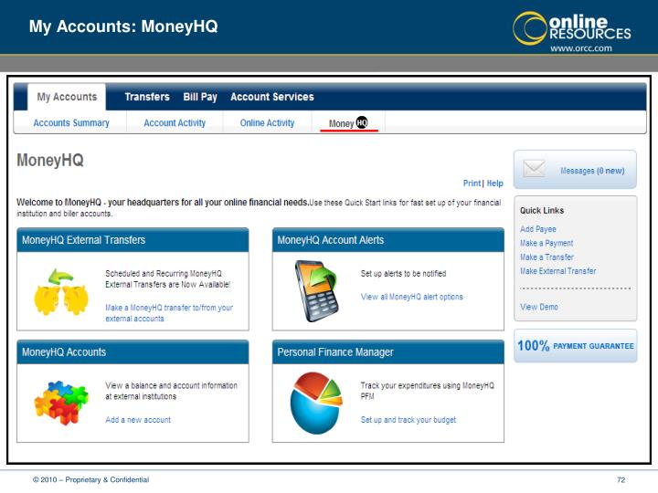 My Accounts: MoneyHQ