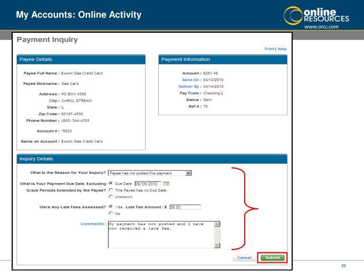 My Accounts: Online Activity