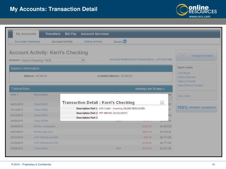 My Accounts: Transaction Detail