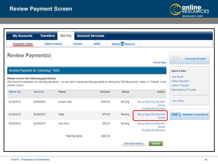 Review Payment Screen