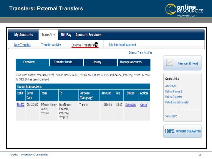 Transfers: External Transfers