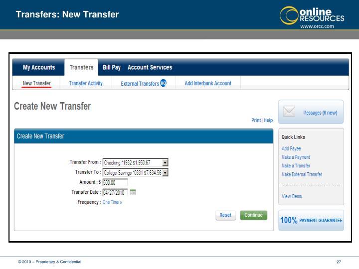 Transfers: New Transfer