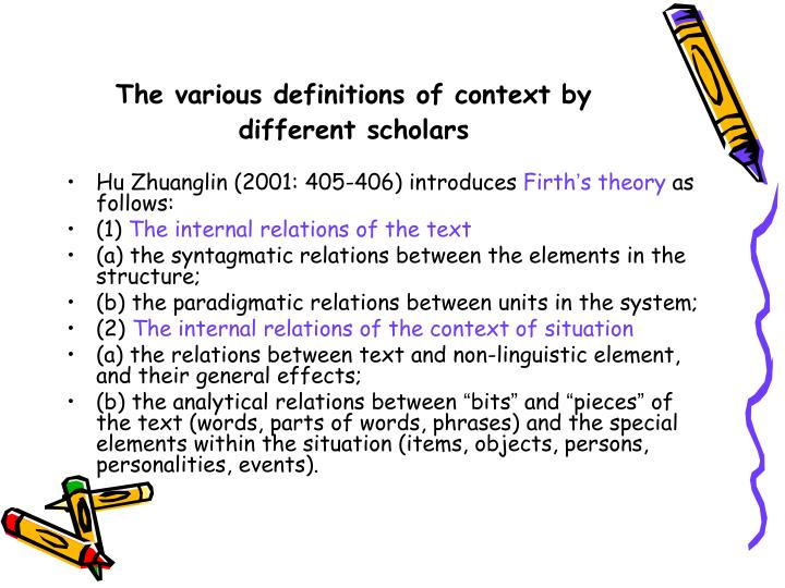 The various definitions of context by different scholars