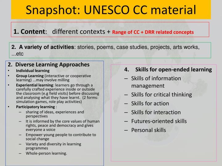 Snapshot: UNESCO CC material