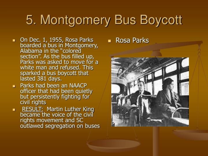 """On Dec. 1, 1955, Rosa Parks boarded a bus in Montgomery, Alabama in the """"colored section"""". As the bus filled up, Parks was asked to move for a white man and refused. This sparked a bus boycott that lasted 381 days."""