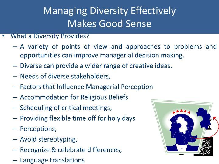 Managing Diversity Effectively