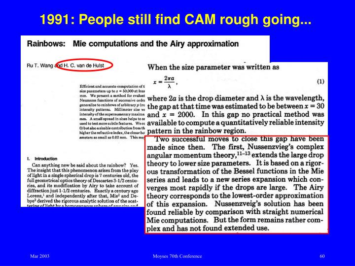 1991: People still find CAM rough going...