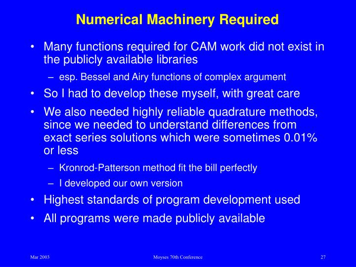 Numerical Machinery Required