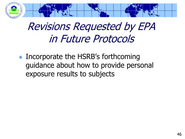 Revisions Requested by EPA