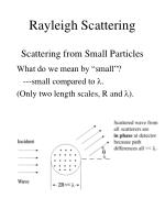 rayleigh scattering scattering from small particles
