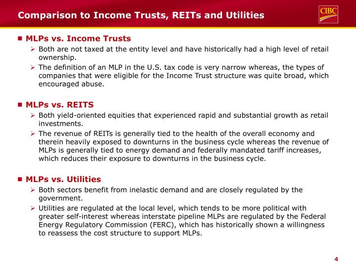 Comparison to Income Trusts, REITs and Utilities