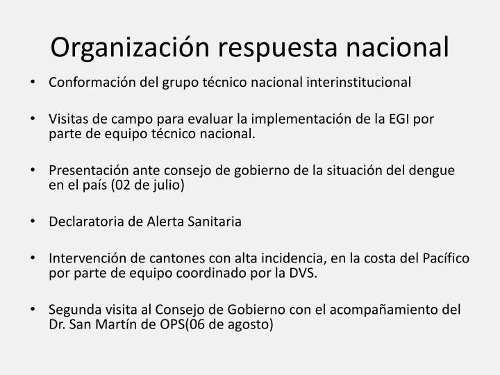 Organización respuesta nacional