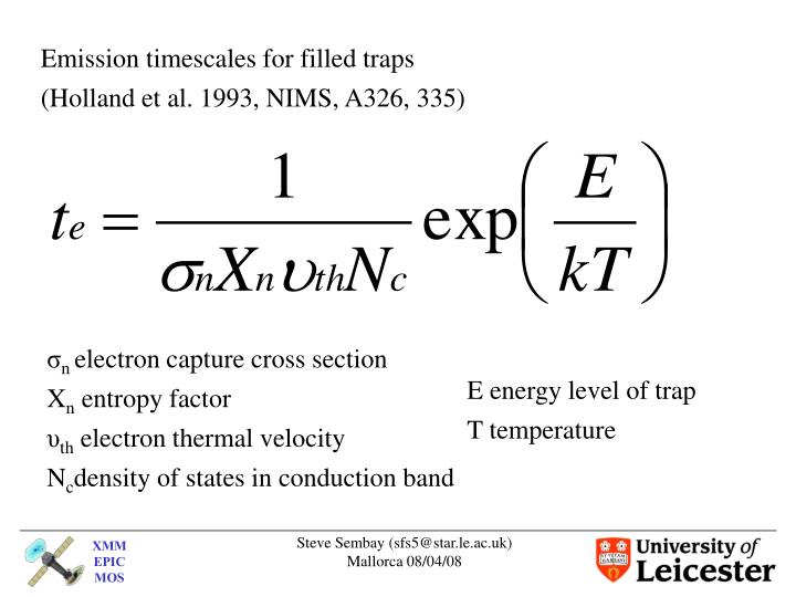 Emission timescales for filled traps