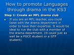 how to promote languages through drama in the ks3