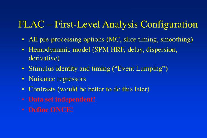 FLAC – First-Level Analysis Configuration