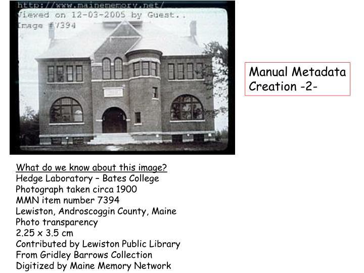 Manual Metadata