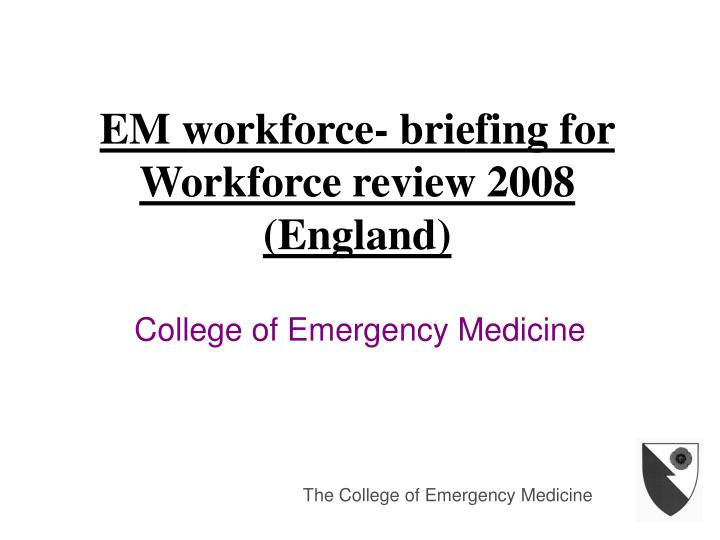 Em workforce briefing for workforce review 2008 england
