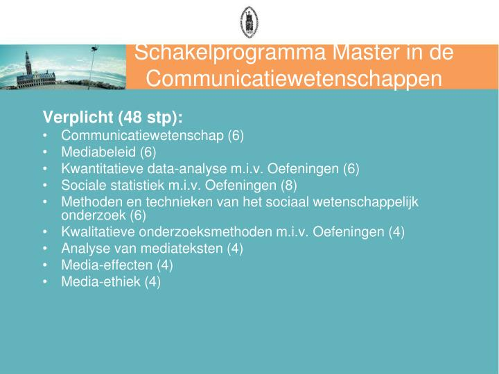 Schakelprogramma Master in de Communicatiewetenschappen
