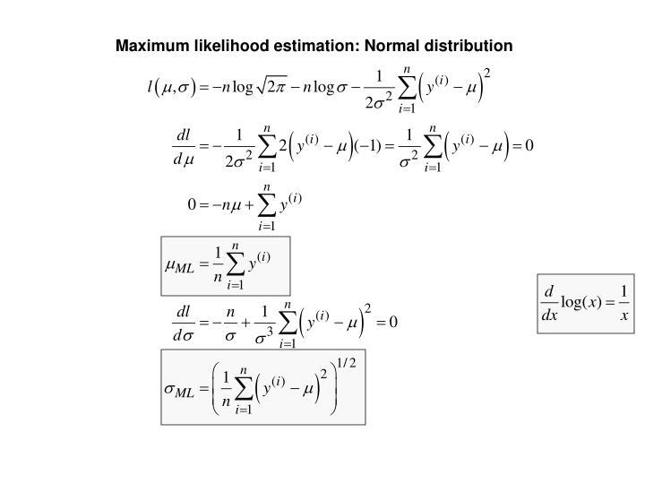 Maximum likelihood estimation: Normal distribution