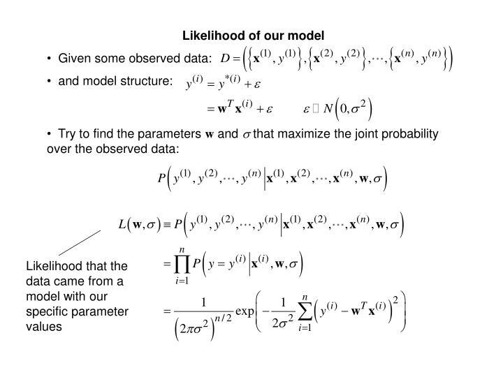 Likelihood of our model