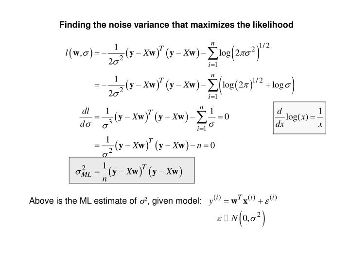 Finding the noise variance that maximizes the likelihood