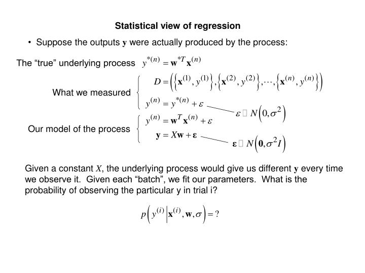 Statistical view of regression