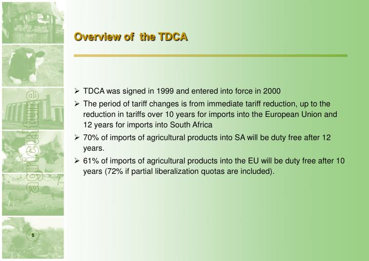 Overview of  the TDCA