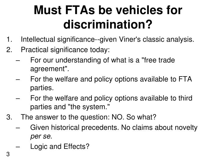 Must ftas be vehicles for discrimination1