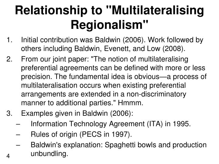 "Relationship to ""Multilateralising Regionalism"""