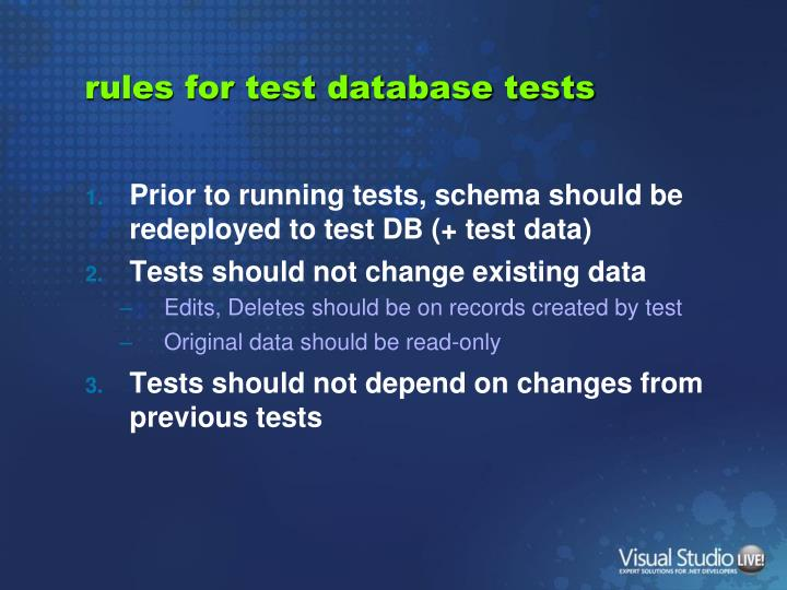 rules for test database tests