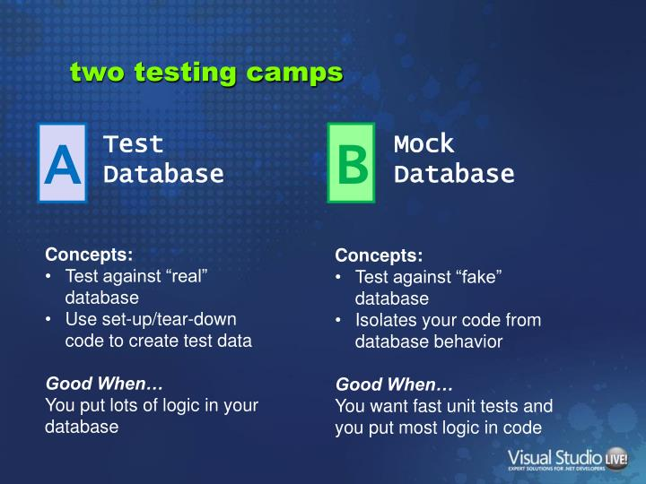 two testing camps