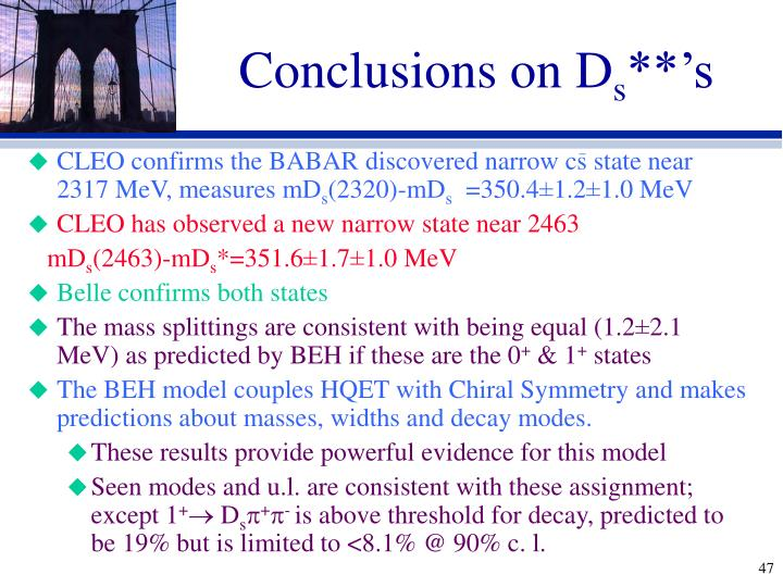 Conclusions on D