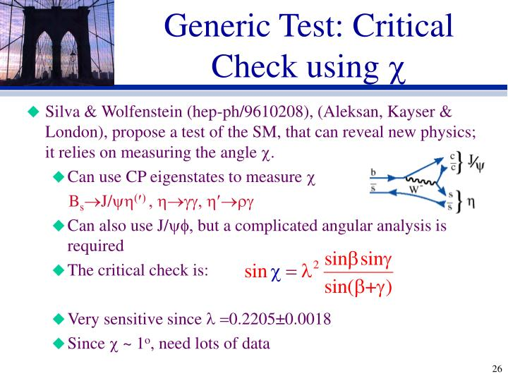 Generic Test: Critical Check using