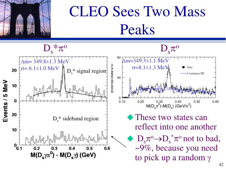 CLEO Sees Two Mass Peaks