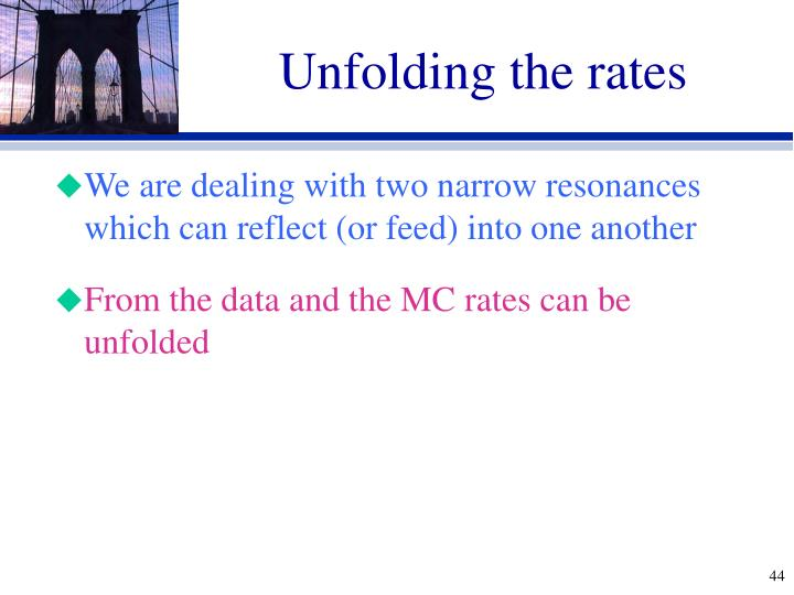 Unfolding the rates