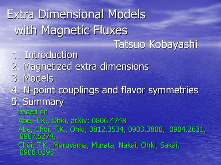 extra dimensional models with magnetic fluxes tatsuo kobayashi n.