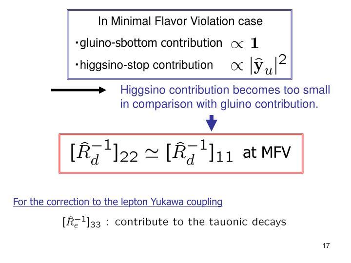 In Minimal Flavor Violation case